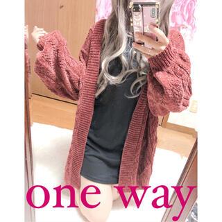 ワンウェイ(one*way)の2772.one way ベロアニット 厚手 透かし編み カーディガン トッパー(ニット/セーター)