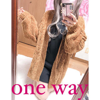 ワンウェイ(one*way)の2773.one way ベロアニット 厚手ニット カーディガン トッパー(ニット/セーター)