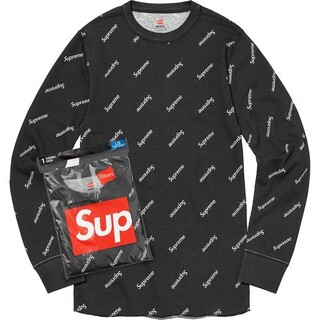 Supreme - supreme Hanes Thermal Crew L black 付属品あり