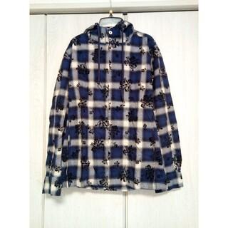 トルネードマート(TORNADO MART)のTORNADO MART フロッキーチェックシャツパーカー ブルー L(パーカー)