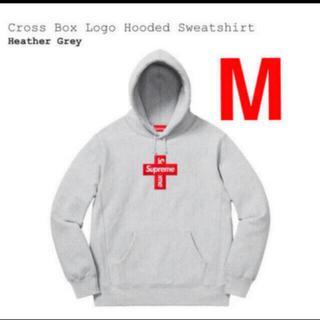 シュプリーム(Supreme)のsupreme Cross Box Logo Hooded gray M(パーカー)