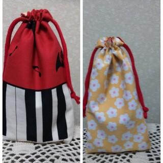 レッド鍵盤柄巾着 給食袋 カトラリー袋(外出用品)