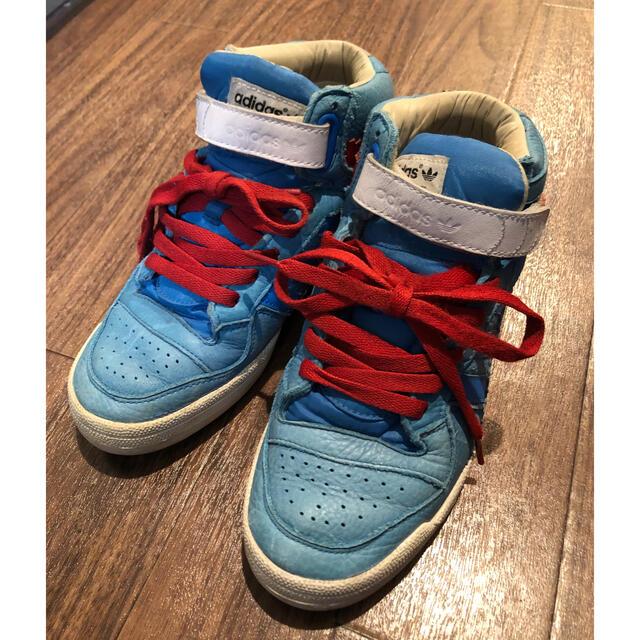 adidas(アディダス)のアディダスオリジナルス スニーカー レザー ハイカット ビンテージ 赤青 レディースの靴/シューズ(スニーカー)の商品写真