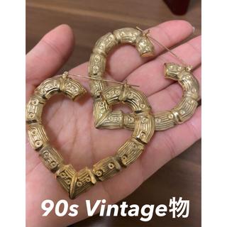 【vintage】90s 10k ハートバンブーピアス 90年代
