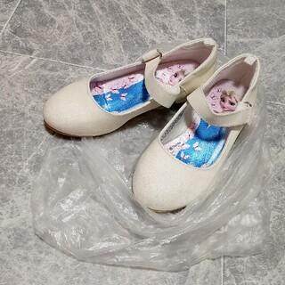 エイチアンドエム(H&M)のH&M ストラップパンプス 結婚式ドレスアップ用ヒール 白 ラメ エルサ18.5(フォーマルシューズ)