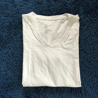 ムジルシリョウヒン(MUJI (無印良品))のVネック Tシャツ 白 無地(Tシャツ(半袖/袖なし))