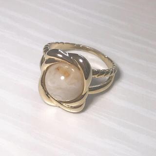 白 石 ゴールド 指輪 リング(リング(指輪))