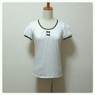 シマムラ(しまむら)の胸元リボン 水玉トップス(Tシャツ(半袖/袖なし))