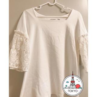 ラグナムーン(LagunaMoon)のLAGUNAMOON 白トップス(カットソー(半袖/袖なし))
