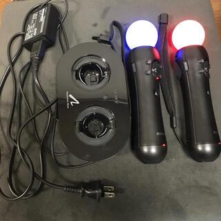 プレイステーションヴィーアール(PlayStation VR)のPS3PS4 モーションコントローラー2本とチャージングステーション充電器セット(家庭用ゲーム機本体)