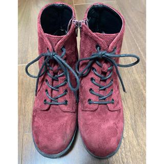 レピピアルマリオ(repipi armario)のレピピアルマリオ ショートブーツ Sサイズ ボルドー色 スエード生地(ブーツ)