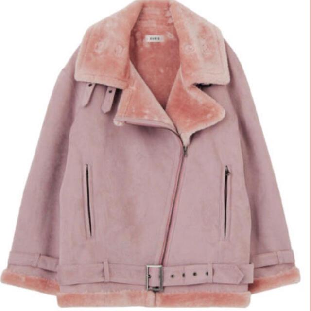 EVRIS(エヴリス)のワイドベルトフェイクムートンライダース (ピンク)  レディースのジャケット/アウター(ムートンコート)の商品写真