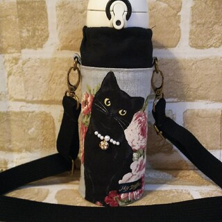 サーモス 水筒カバー ペットボトルカバー 黒猫 ハンドメイド(外出用品)