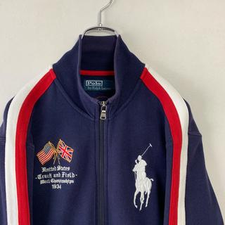 ラルフローレン(Ralph Lauren)の古着 90s POLO Ralph Lauren フルジップ スウェット 星条旗(トレーナー/スウェット)