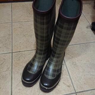 レディースレインブーツ チェック柄Lサイズ(長靴/レインシューズ)