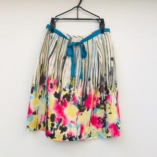 アクアガール(aquagirl)のアクアガール 水彩画フラワースカート リボン付き(ひざ丈スカート)
