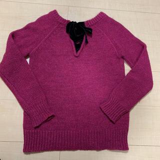 スピックアンドスパン(Spick and Span)のニット ピンク ローズ色 リボン セーター スピックアンドスパン(ニット/セーター)