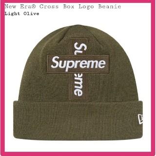 シュプリーム(Supreme)のOlive New Era Cross Box Logo Beanie(ニット帽/ビーニー)