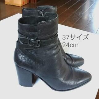 アッシュ(ASH)のASHアッシュ ショートブーツ ブーティ 黒 37 24cm ベルトデザイン (ブーツ)