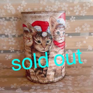 ★★リメイク缶❤️ハンドメイド★クリスマス猫ちゃん★寄せ植えに♪♪★多肉植物(その他)