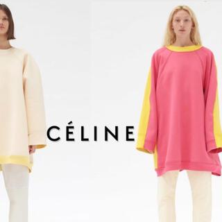 セリーヌ(celine)の新品タグ付 Celine セリーヌ バイカラー スウェット ピンク イエロー(トレーナー/スウェット)