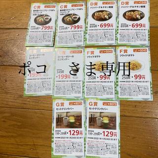 スカイラーク(すかいらーく)のジョナサン くじ 1/24まで有効 CDEFG 各2枚計10枚 2千円ほど割引(レストラン/食事券)