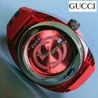 グッチ(Gucci)の【新品】純正BOX付 グッチ GUCCI クオーツ 赤 メンズ腕時計 ラバー(ラバーベルト)