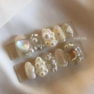 ホワイト シルバー キラキラネイル ネイルチップ(つけ爪/ネイルチップ)