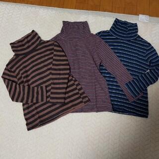 ユニクロ(UNIQLO)のユニクロハイネックボーダーロングTシャツ3枚セット120(Tシャツ/カットソー)