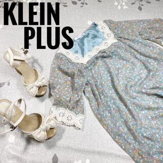 エムケークランプリュス(MK KLEIN+)のグリーン花柄クリエアネックロココ調ボタニカル柄Mサイズ半袖七分袖(ミニワンピース)