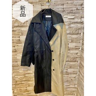 【新品未使用】トレンチコート メンズ お洒落 ビジネスコート カーキ色 黒(トレンチコート)