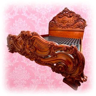 アンティーク マホガニー 猫脚 装飾 ベッド 寝具 ロココ レリーフ 彫刻 家具(ワイドダブルベッド)