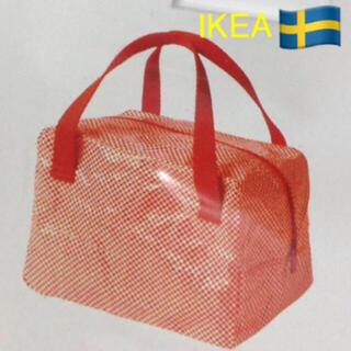 イケア(IKEA)の新品IKEA イケアファスナー付ランチバッグ ショッピングバッグ ( レッド )(ショップ袋)