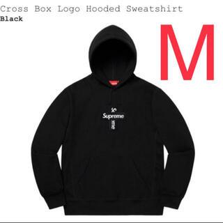 Supreme cross box logo hooded Black Mサイズ(パーカー)