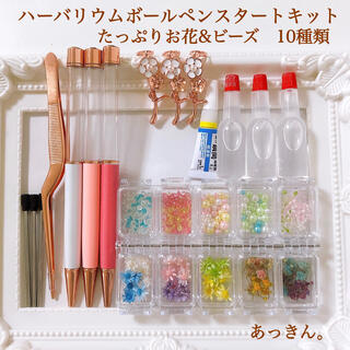 お手軽 人気 ハーバリウムボールペン 花材キット たっぷりお花&ビーズ 10種類(ドライフラワー)