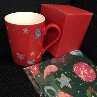 ゴディバ クリスマスマグカップとランチクロス(グラス/カップ)