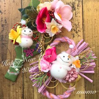 雪だるまのちりめん羽子板&八の字しめ縄飾り* 優しいピンク(その他)