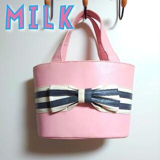 ミルク(MILK)のMILK◆リボンバッグ◆ピンク◇ロリィタ(ハンドバッグ)