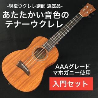 【kmise】マホガニー材単板のテナーウクレレ【入門セット】(その他)