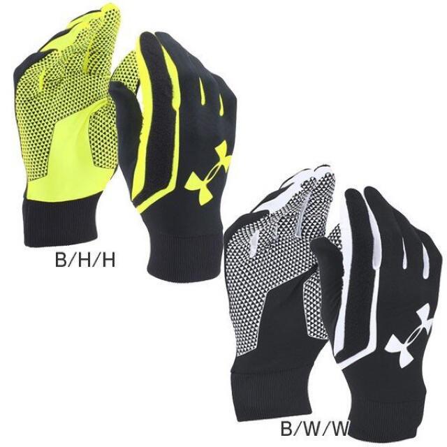 UNDER ARMOUR(アンダーアーマー)の34%オフ アンダーアーマー LG ブラック ホワイト グローブ 手袋 防寒 メンズのファッション小物(手袋)の商品写真