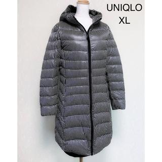 ユニクロ(UNIQLO)のUNIQLO  千鳥柄が素敵なウルトラライトダウン フーデットコート XL(ダウンコート)