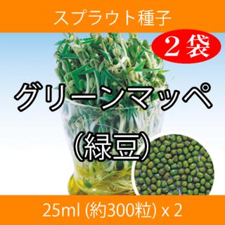 スプラウト種子 S-17 グリーンマッペ(緑豆) 25ml 約300粒 x 2袋(野菜)