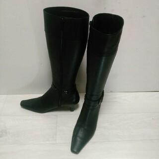 ピッティ(Pitti)の♪Pitti ロングブーツ レザーブーツ スクウェアトゥ 23.5cm 美品(ブーツ)