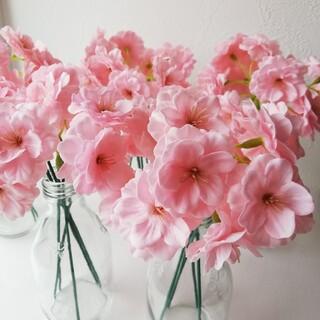 ソープフラワー 桜25房と茎(針金) ピンク(その他)