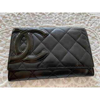 シャネル(CHANEL)のCHANEL シャネル カンボンライン 二つ折り財布 コンパクト ココマーク黒(財布)