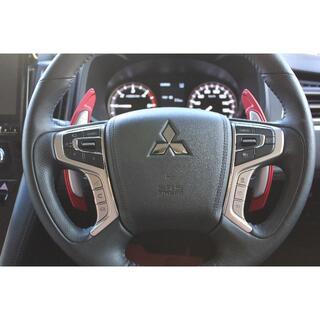 ミツビシ(三菱)の新型 デリカ D5 パドルシフト カバー エクステンション 赤 レッド(車内アクセサリ)