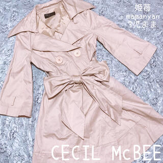 セシルマクビー(CECIL McBEE)の先取り♡今から着られる♡五分袖トレンチ♡特大リボン♡めっかわ♡リアル映え♡春♡秋(トレンチコート)