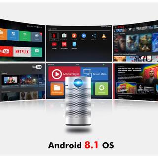 ポータブルプロジェクターwifi android OS コンパクト 4K 3D (プロジェクター)