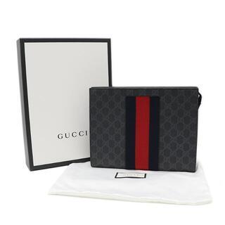 グッチ(Gucci)のGUCCI クラッチバッグ GGスプリーム ウェブ ブラック 黒 A3492(セカンドバッグ/クラッチバッグ)
