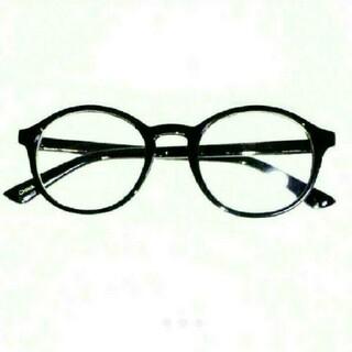 丸眼鏡 デザイン 伊達メガネ 新品 送料無料 ブラック 黒縁 UVレンズ 付き(サングラス/メガネ)